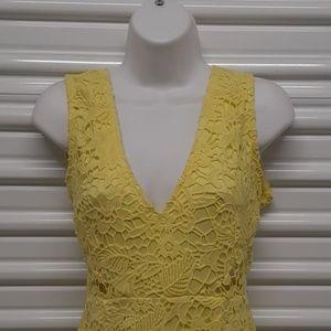 BooHoo Cut out back yellow lace fish tail dress